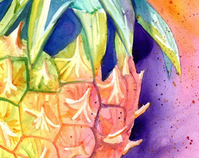 Pineapple Painting,  Original Watercolor, Hawaii Art, Pineapple Art, Kauai Fine Art, Hawaiian Pineapples, Maui Oahu, Hawaii, watercolors