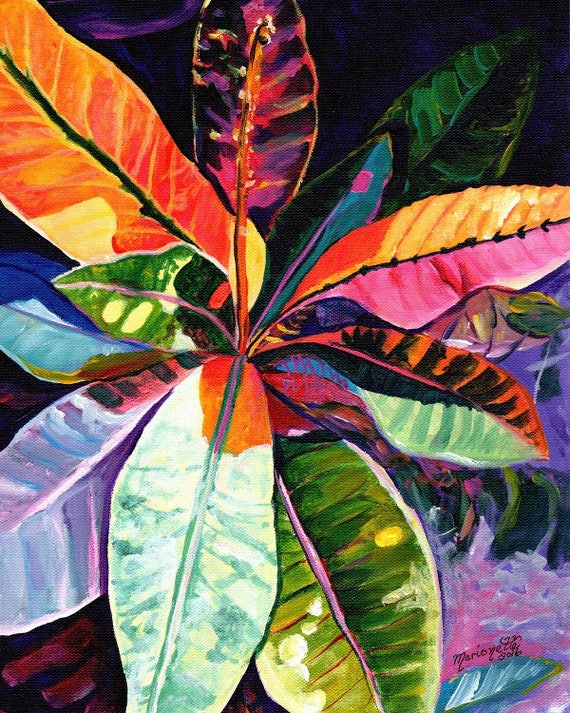 Tropical Leaves, Croton, Kauai Croton Leaves, Hawaiian print, Kauai Hawaii tropical purple orange blue pink oahu maui