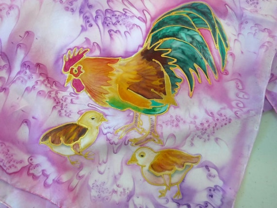 Rooster Silk Scarf - Silk Painting - Handmade Scarf - Hawaii Scarf - Hand Painted Silk - Rooster with Chicks - Square Scarf - Square Silk