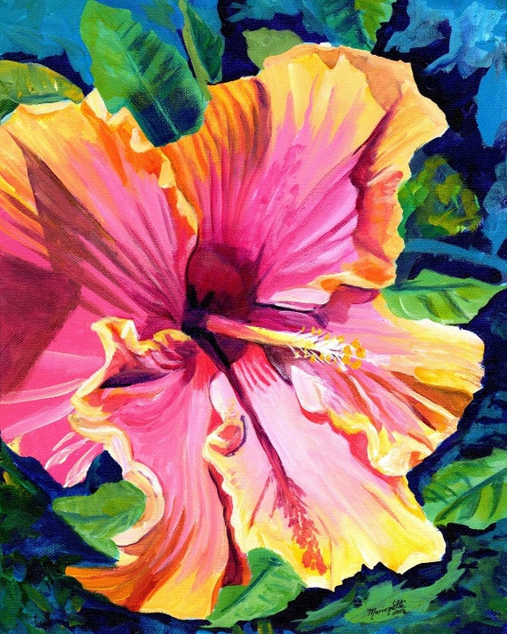 hibiscus art print,  hibiscus paintings,  hawaii art, hawaiian paintings, pink hibiscus, tropical flowers, Hawaii decor, maui art, oahu art