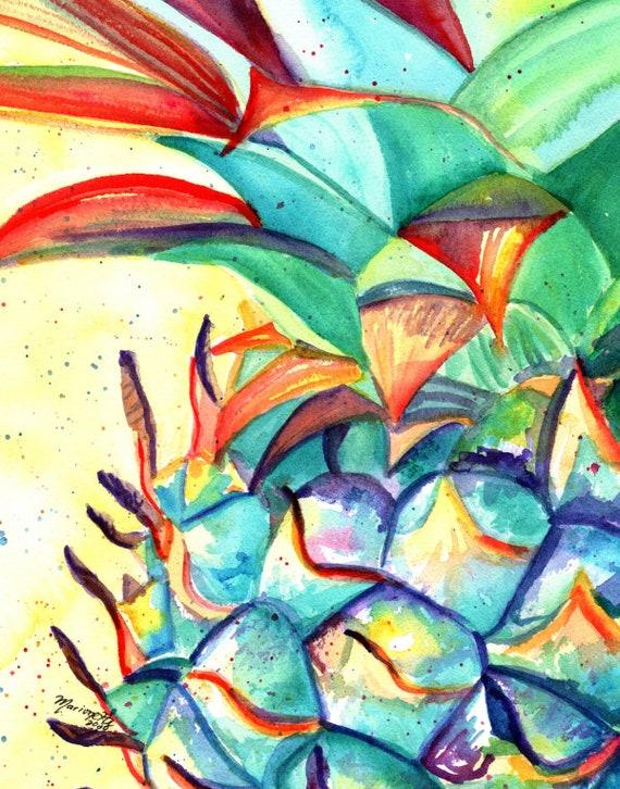 Hawaiian Pineapple Art, Pineapple art, Pineapple art print, Pineapple artwork, Pineapple decor, Hawaii art, Pineapple Wall Art, Housewarming