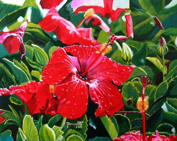 red hibiscus print, Mele Kalikimaka, Hawaiian Christmas,  Kauai art, Hawaii print,  hibiscus art, hibiscus painting, red hibiscus decor