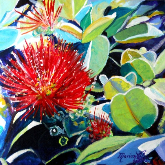 Ohia Lehua  Art Print, Hawaiian art, goddess pele flower, pele lava flower, big island art, Hawaii island art, volcano flower art