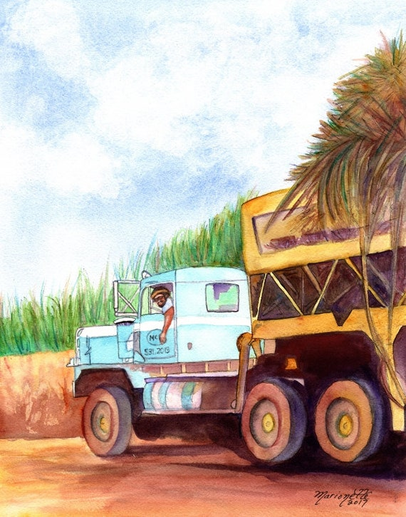 Truck Art, Trucker Gifts, Sugar Cane Painting, Hawaii Art, Hawaiian Art, Old Truck Wall Art, Plantatation Decor, Kauai Art, McBryde Sugar
