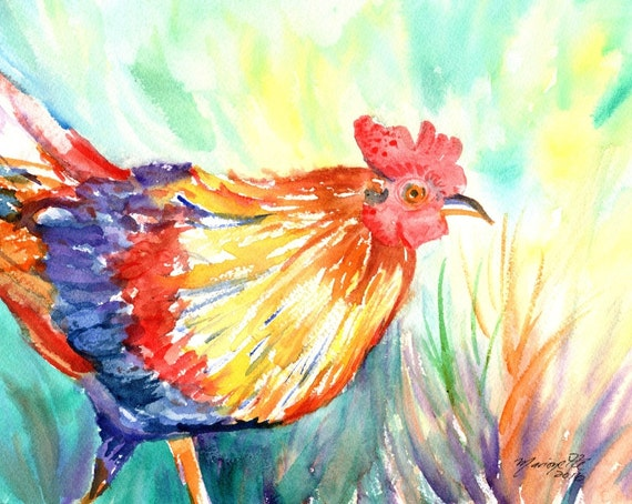 Roosters, Original Watercolor Paintings,  Chickens, Kauai Hawaii Kitchen Paintings, Kauai Art, Kitchen Decor, Barnyard Chickens, Farm art