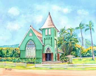 Hanalei Church, Kauai print, Hanalei Green Church, Waioli huiia church Kauai, kauai artist, hawaiian art galleries, Hawaii, kauai fine art,