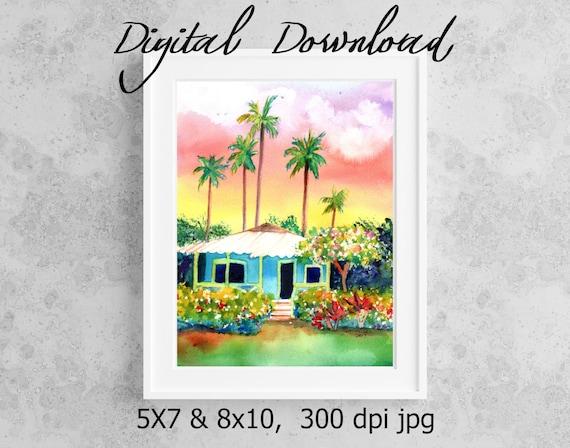 Plantation Cottage Print Digital Download 8x10 5x7 jpg Watercolor Print Printable wall art Hawaii Decor Hawaiian House Print it now at home