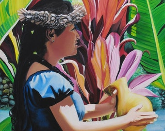 Hula Art, Hula Paintings, Hula girl, Hula art print, Hawaiian Paintings, Hawaii art, Hawaiian art, Kauai art, Hawaii print, Aloha art