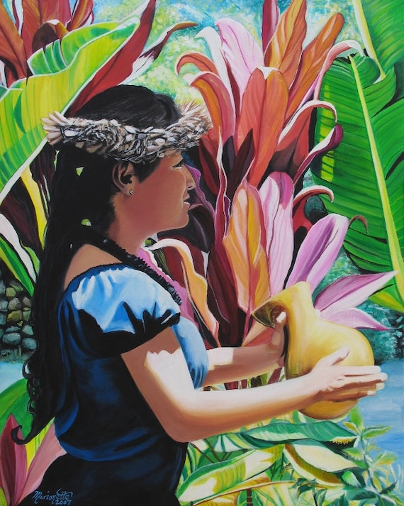 Hula Art, Hula Paintings, Hula girl, Hula art print, Hawaiian Paintings, Hawaii art, Hawaiian art, Kauai art, Hawaii print, Aloha art