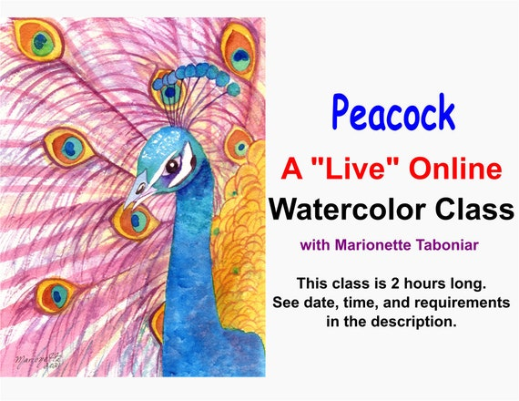 Peacock  - A Live Online Watercolor Class with Marionette Taboniar - Tuesday, July 27 -  Zoom Art Classes - Zoom Lesson