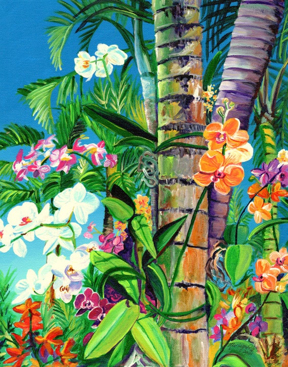 Tropical orchid art, orchid painting, tropical flower art, hawaii decor, hawaiian wall art, housewarming gift, orchids on palm trees