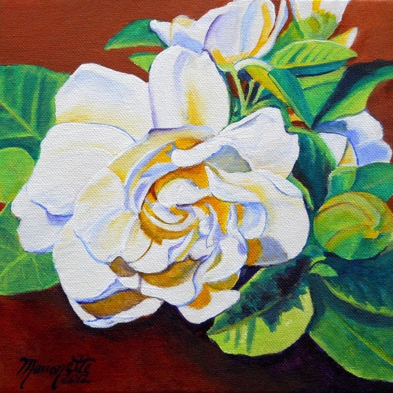 Gardenia Art Print, white flower paintings, gardenia artwork, tropical flowers, Kauai art, Hawaii art, exotic flowers