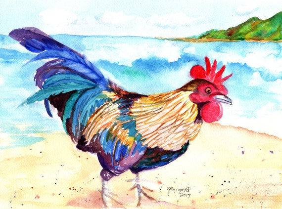Rooster Painting, Rooster Print, Rooster at the Beach, Chickens Roosters, Chicken Paintings, Kauai Art, Kitchen Decor, Kauai Chicken
