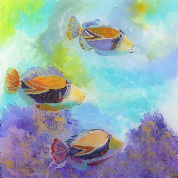 Tropical Hawaiian Fish Art - Square Art Print - Kauai Hawaii - Childrens Wall Art - Kids Tropical Fish Decor - Tropical Reef Fish Art