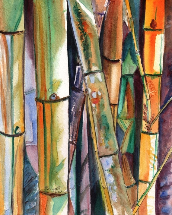 Bamboo art print, Kauai art, Hawaii art, Japanese bamboo, Oriental bamboo, Asian bamboo art, green bamboo, exotic bamboo, bamboo painting
