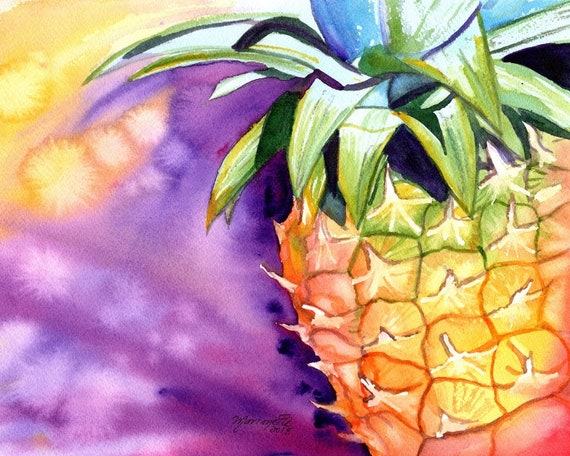 pineapple art  prints, hawaiian pineapples, hawaii decor, pineapple watercolors, hawaiian pineapple paintings, hawaii maui oahu