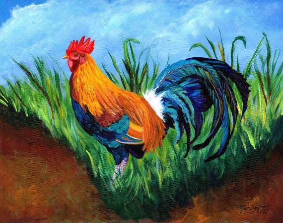 Rooster Painting, Sugar Cane Rooster Print, Chickens Roosters, Chicken Paintings, Kauai Rooster, Kitchen Decor, Kauai Chicken, Fowl Art