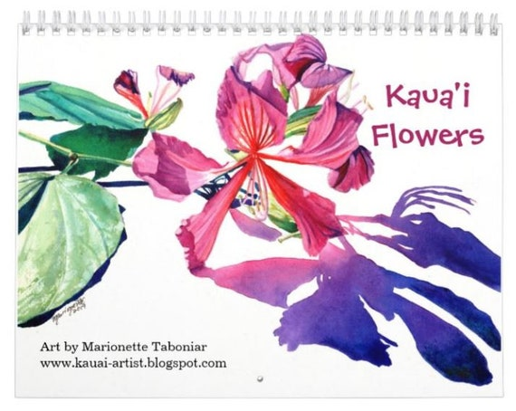 Kauai Flowers 2021 Wall Calendar, 2021 Calendar, Hawaii Calendar, Illustrated Calendar, Kauai Calendars, Art Calendar, Artist Calendar
