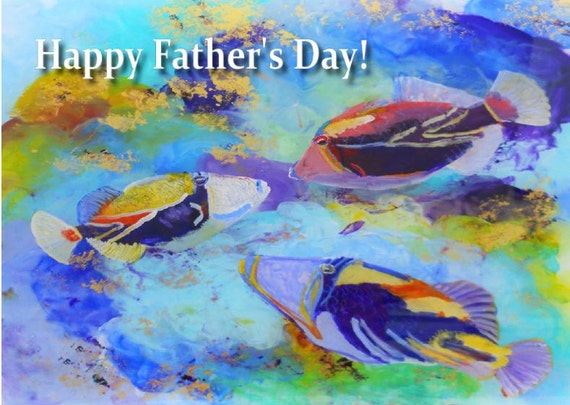 Printable DIY Father's Day card 5x7 pdf Tropical Fish from Kauai Hawaii by Marionette Humuhumu Trigger Fish Ocean