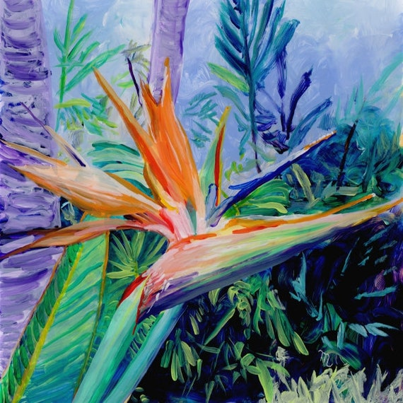 Bird of Pardise Art Print, Hawaiian art,  bird of paradise flower, tropical flowers, bird of paradise painting, Hawaii painting, Hawaii art
