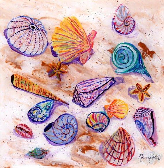 Seashell Art Original Reverse Acrylic Painting by Kauai artist Marionette Taboniar   Sea Shell Decor