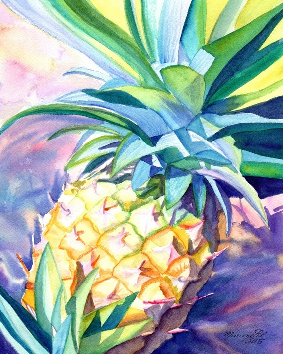 pineapple  art print,  hawaiian pineapples, hawaii artwork, kauai decor, pineapple design, hawaiian art, hawaii maui oahu