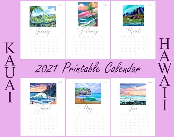 Kauai 2021 Printable Calendar, Kauai Landscapes, Kauai Hawaii Art, Downloadable 2021 Calendar, Print it Yourself, DIY, Instant Download