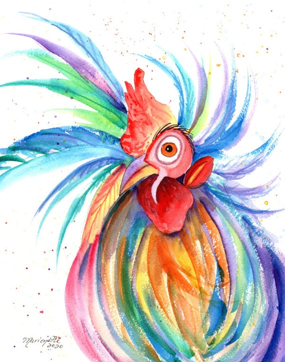 Rooster Original Watercolor Painting, Kauai rooster,  rooster kitchen decor, chicken art, crazy rooster, whimsical rooster