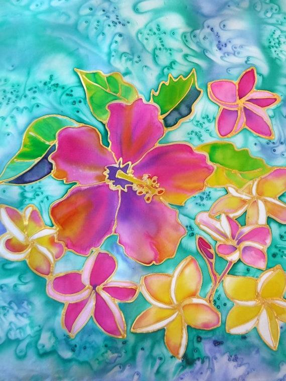 Hibiscus Silk Scarf - Silk Painting - Handmade Scarf - Hawaii Scarf - Hand Painted Silk - Plumeria Silk Scarf - Square Scarf - Square Silk