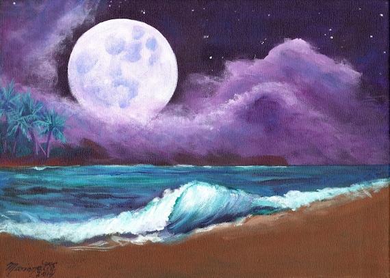 Kauai Beach Moon Art - 5 x 7 Giclee Print - Hawaiian art - Romantic Kauai Moonlight- Hawaii Moon Painting - home decor - Kauai Night Sky