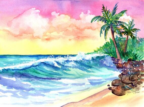 Hawaiian Sunset, Original Watercolor, Hawaii Decor, Ocean Art, Hawaii Painting, Oahu, Maui, Kauai, Ocean Waves, Big Surf, Coconut Palm Tree