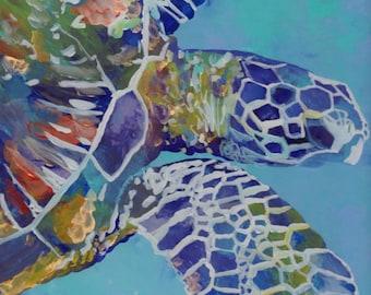Sea Turtle art prints, Hawaiian art, Kauai art prints, Hawaii painting, Hawaiian honu turtles, turtle ocean art, sea turtle decor, for kids