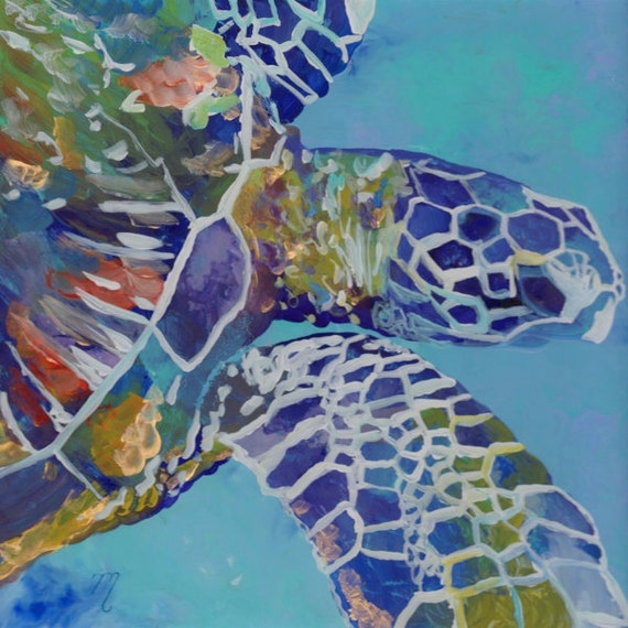 Sea Turtle art prints, Hawaiian art, Kauai art prints, Hawaii painting, Hawaiian honu turtles, turtle ocean art, sea turtle decor, for kids