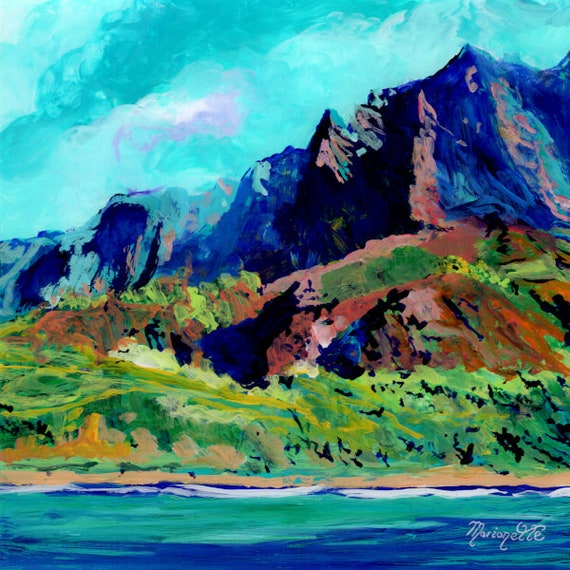 Kauai Na Pali Coast, Kauai landscape art, Kauai mountains, Kauai Artist, Kauai seascape painting, Kauai decor, made on Kauai