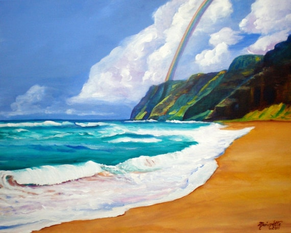 polihale beach, Kauai art print, kauai paintings, Na Pali Coast, Kauai mountains, Hawaii rainbows, sandy beach, hawaiian decor