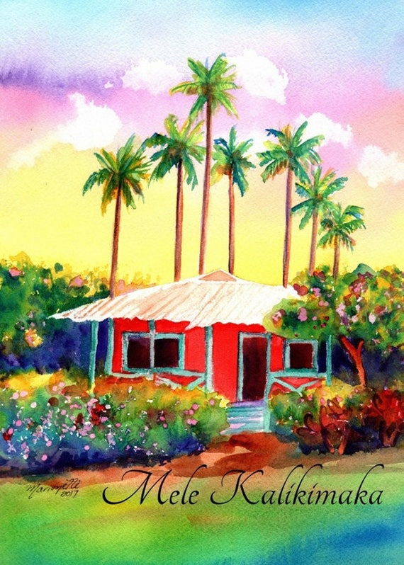 Mele Kalikimaka, Hawaiian Christmas Card, Hawaii Christmas, Hawaiian Cottage, Tropical Christmas, DIY Christmas Cards