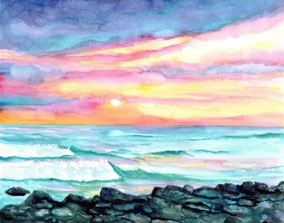Kauai Wall Art, Kauai Beach Art, Sunset Prints, Hawaii Decor, Poipu Beach Art, Ocean Print, Surf Art, Hawaiian Art, tropical painting