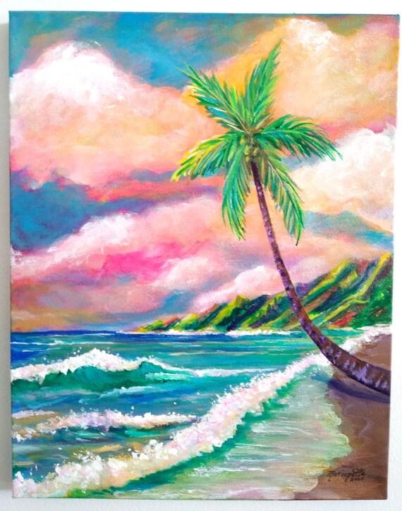 Tropical Na Pali Coast Original Acrylic Painting 11x14 Kauai Art Hawaii Wall Decor Beach Art Seascape Coconut Palm Tree