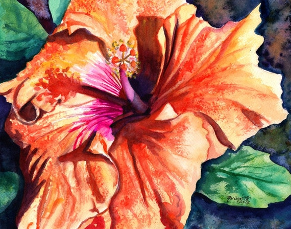Hibiscus painting, Hawaii art, Hibiscus print, Hibiscus flower art, Tropical art, Tropical flower, Hawaiian flower, Hawaii art work