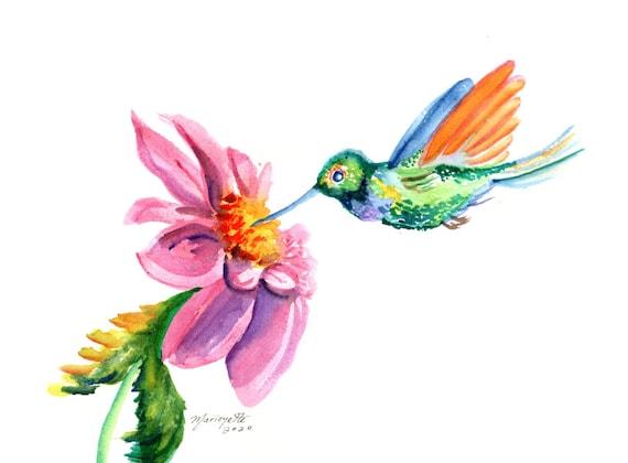 Whimsical Hummingbird, Original Bird Watercolor Painting, Humming bird with Flower, Kids Room Decor, Nursery Wall Art, Hummingbird Gifts