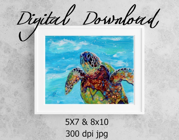 Sea Turtle Print Digital Download 8x10 5x7 jpg Watercolor Print Printable wall art Downloadable Ocean Decor Hawaiian Honu Kids Room Decor