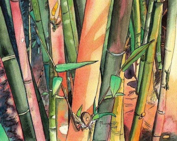 bamboo art, bamboo prints, wall art, tropical prints, home decor, bamboo watercolor, hawaiian art, oriental, asian, kauaiartist, hawaii