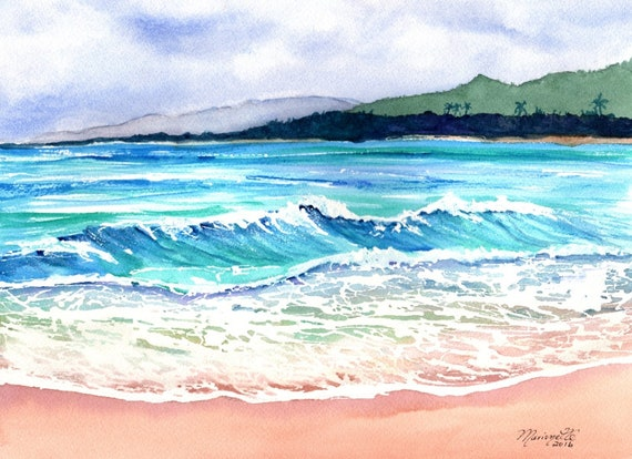 wailua beach kauai, paintings of kauai beaches, ocean art, hawaiian paintings, hawaii seascapes, wailua beach print, kauai artist
