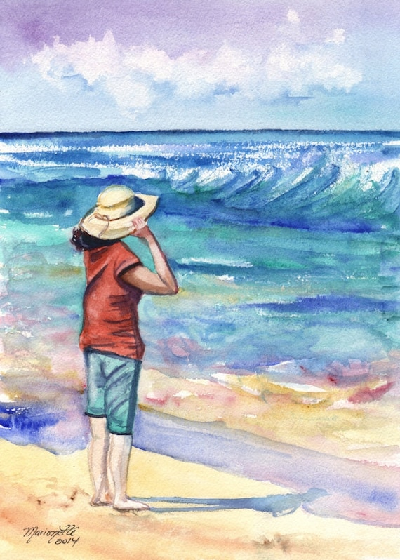 Kauai Beach Art -  Kauai Seascape Art - Woman at the Beach - Hawaiian Art Prints - Lady With Hat Home Decor - Looking Out