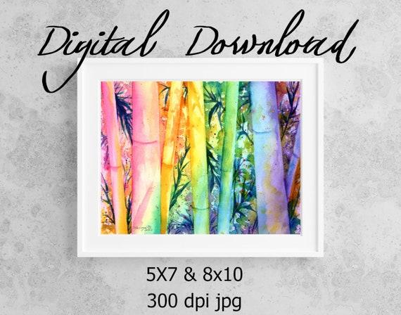 Bamboo Print, Printable Wall Art, Downloadable Art, Poster Art, DIY Prints, Hawaii Bamboo, Asian Decor, Colorful Bamboo, Rainbow Bamboo