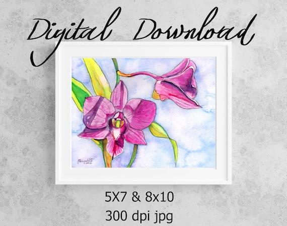 Orchid Print, Printable Wall Art, Downloadable Art, Poster Art, Hawaii Art, Hawaii Decor, Tropical Flower, Purple Orchids, Print it out