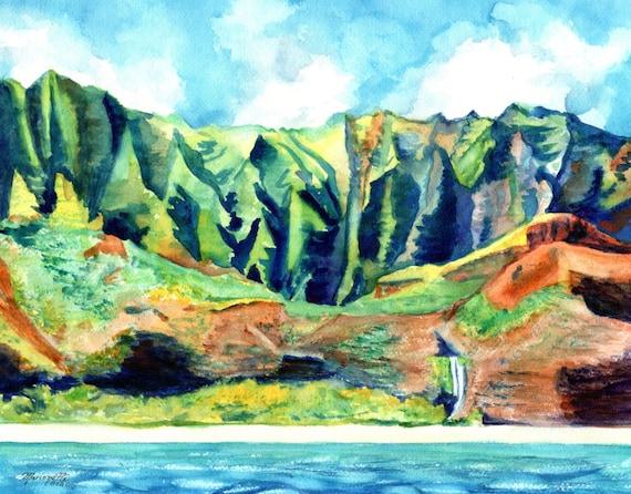 Kauai's Na Pali Coast  Art Print by Kauai Artist Marionette Taboniar Kauai Seascape Mountains