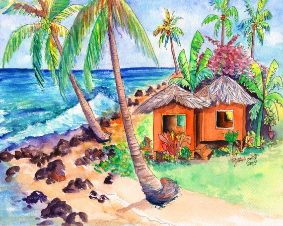 tropical cottage prints,  hawaiian vacation art, hawaiiana art,  tropical beach hut, Kauai beach paintings, Hawaii art, Hawaiian artwork