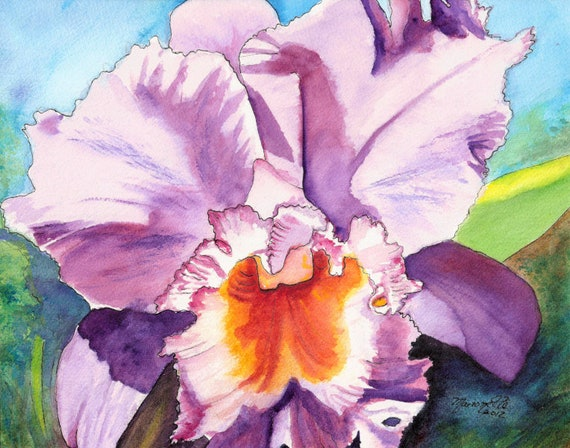 Purple Cattleya Orchid Watercolor, orchid prints, orchid art, orchid painting, tropical flower art, cattleya paintings, hawaii decor
