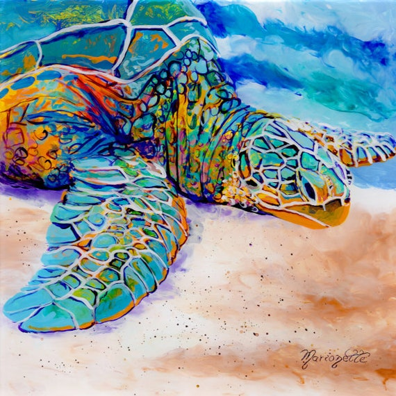 Colorful Sea Turtle Square Art Print Hawaiian Decor Kauai Artist Hawaii Wall Art